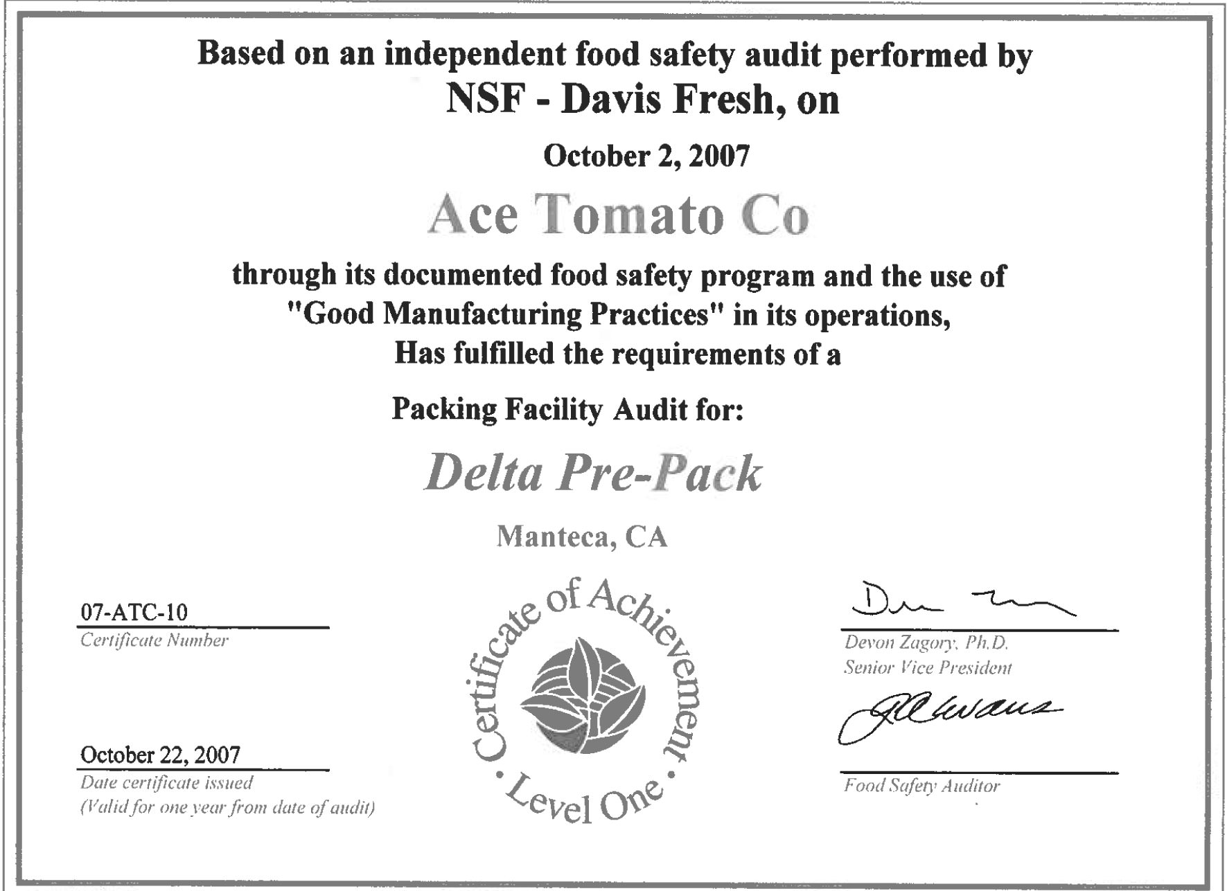 Food Safety Certificates Of Lagorio Family Of Companies